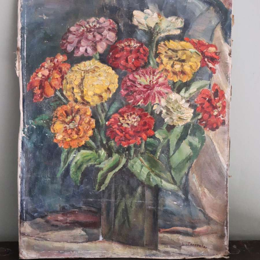 Mid century oil painting of dahlias