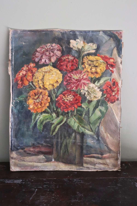 Mid century oil painting of dahlias