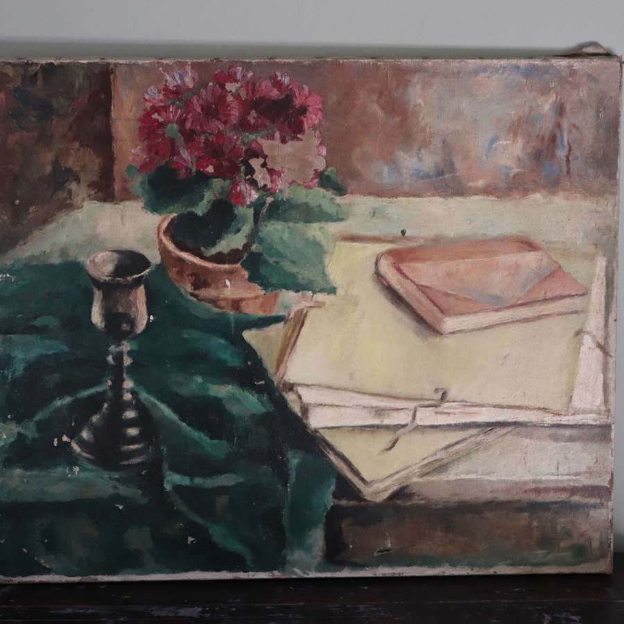 Mid century still life oil painting