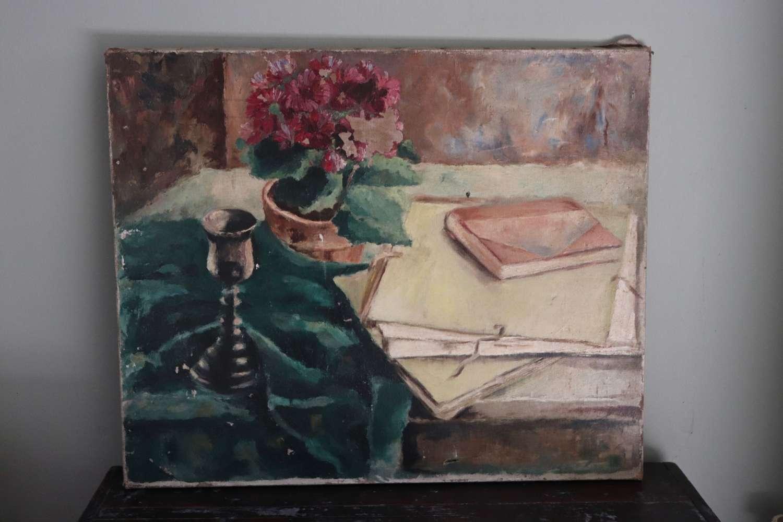 Mid century still life oil painting