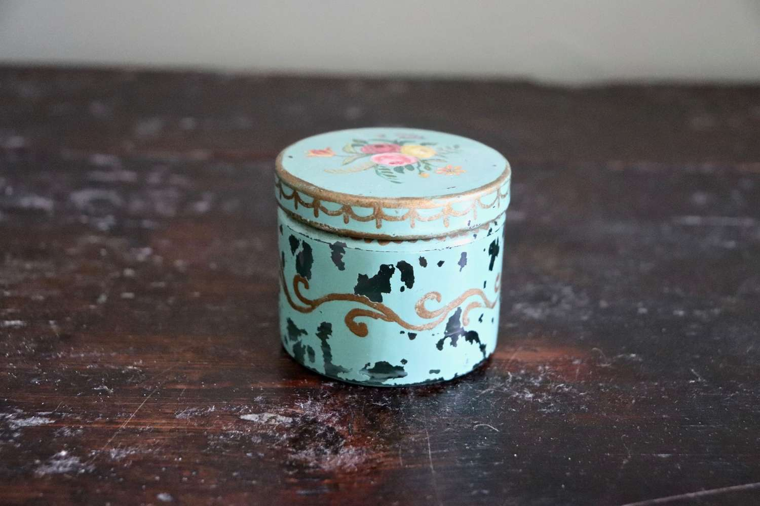 Glass painted pot 1950s