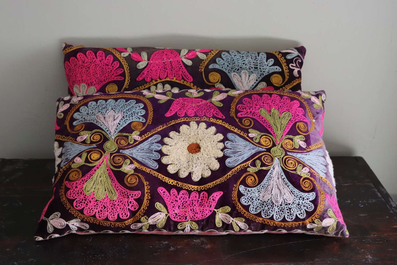 Pair of suzani cushions with silk ikat backs