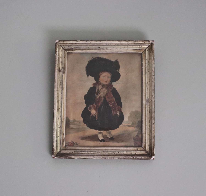 Late Georgian watercolour of a little girl in a bonnet