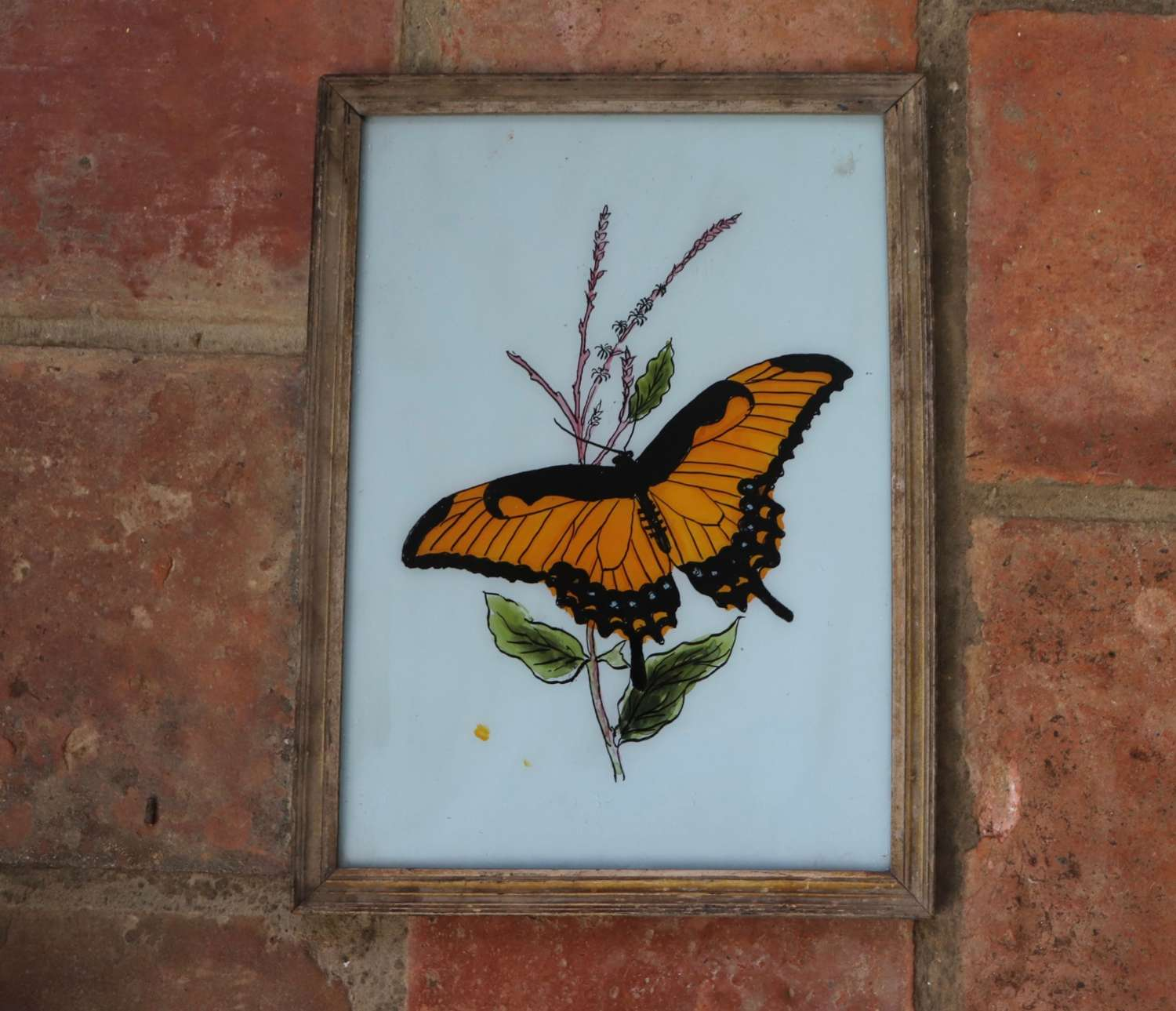 Indian reverse glass painting in old frame