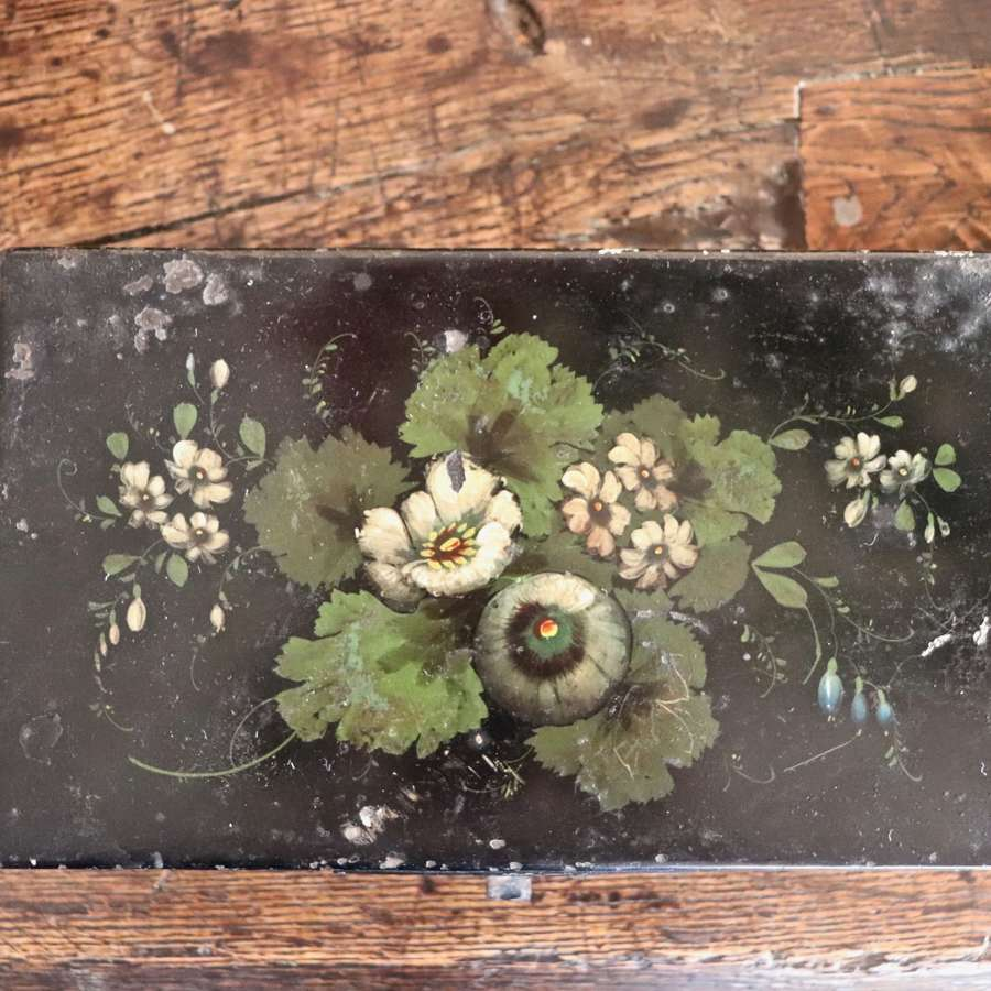 Early 20th century floral writing tin