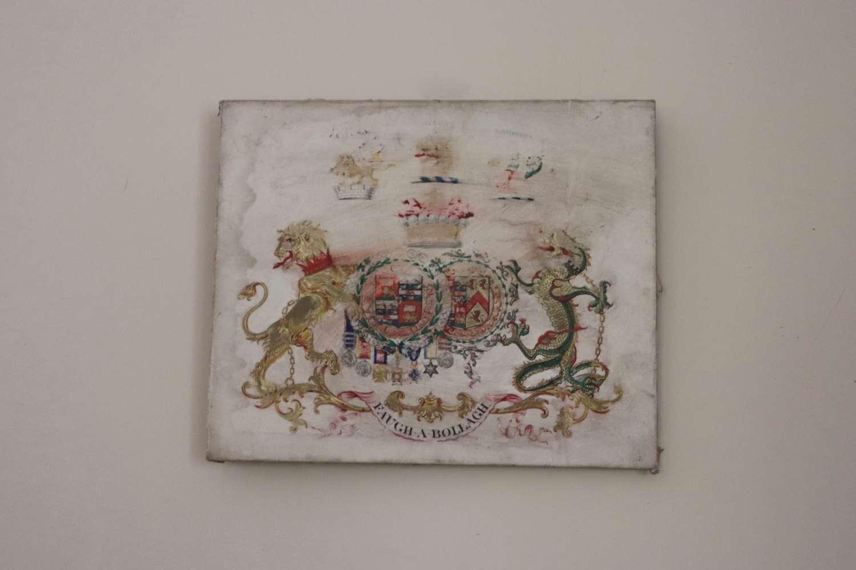 Heraldic crest on canvas