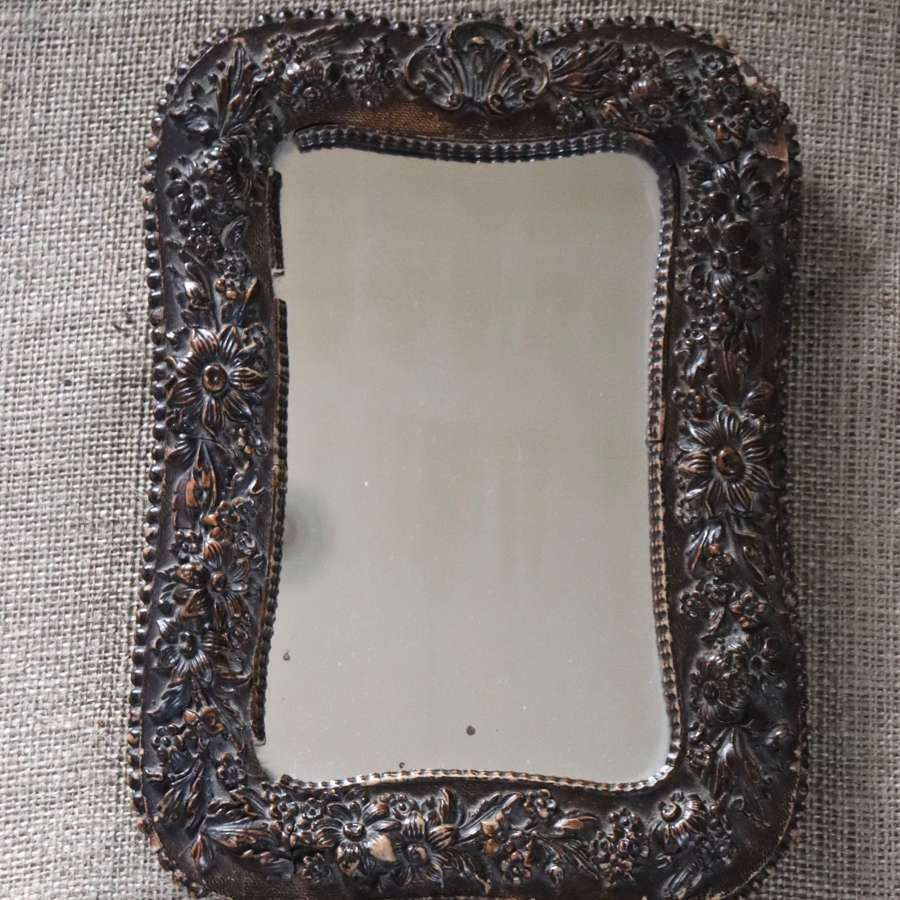 Small carved wooden dressing table mirror