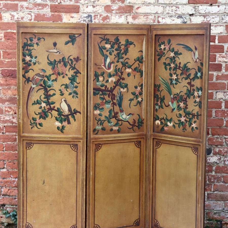 Mid century three panelled screen depicting birds and flowers