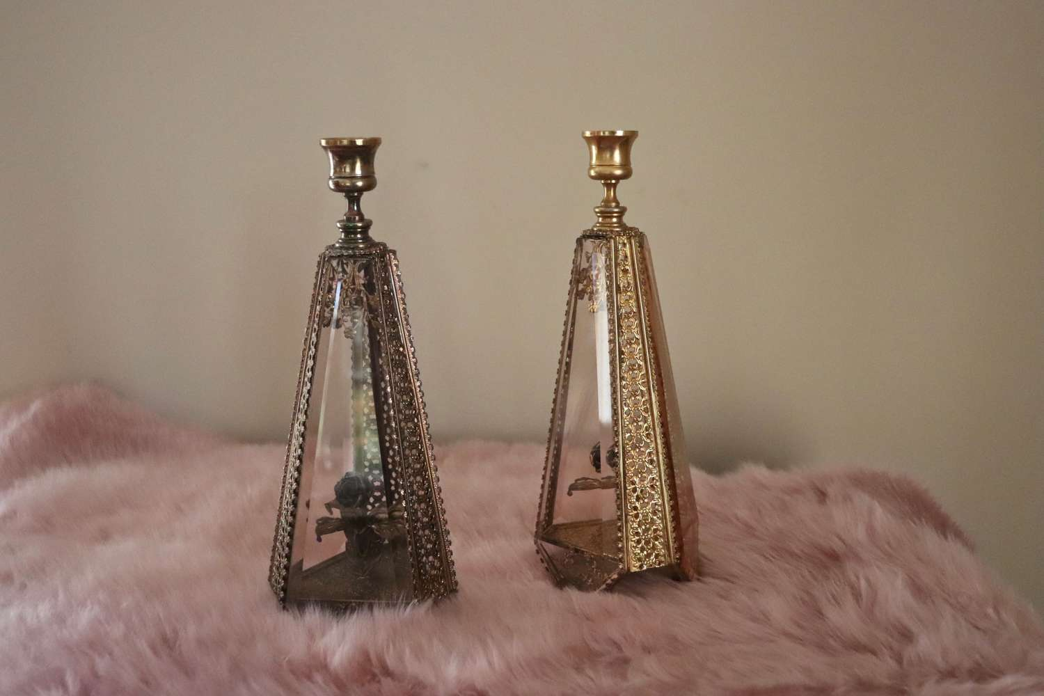 Pair of American mid century glass and filigreed metal candlesticks