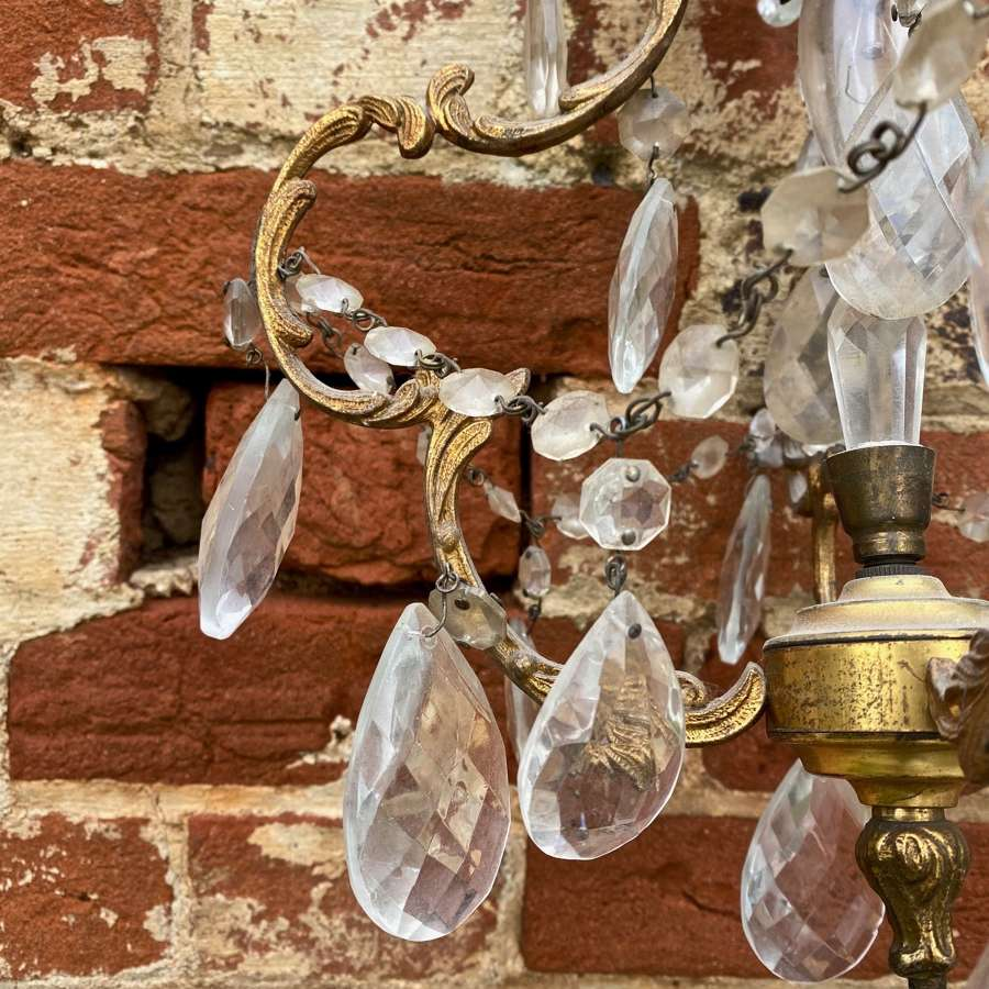 Mid century chandelier with clear drops