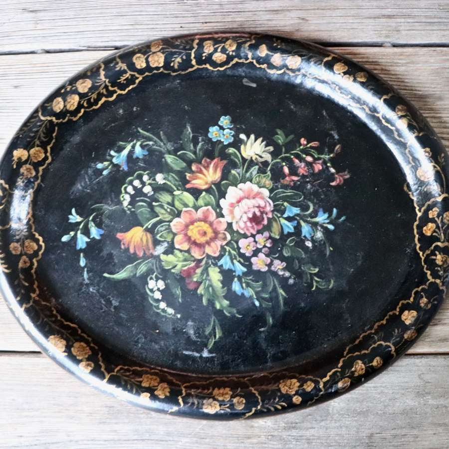 19th century papier maché oval tray
