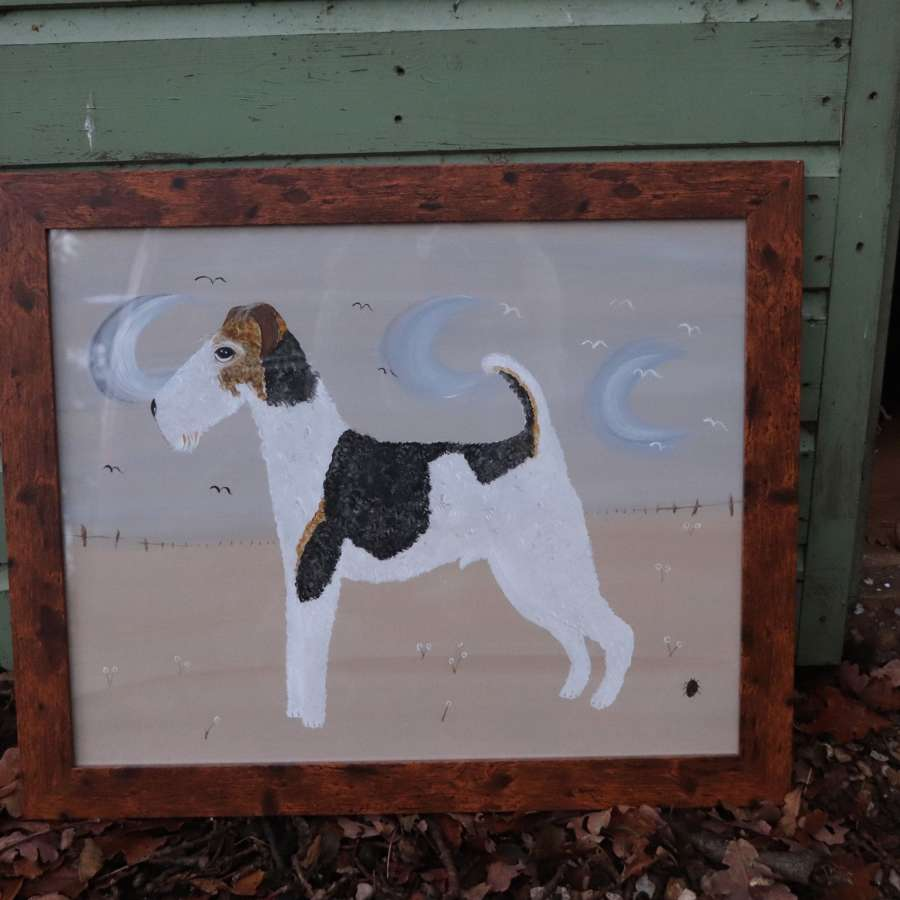 Original acrylic painting of a foxhound by Pearl Bugg