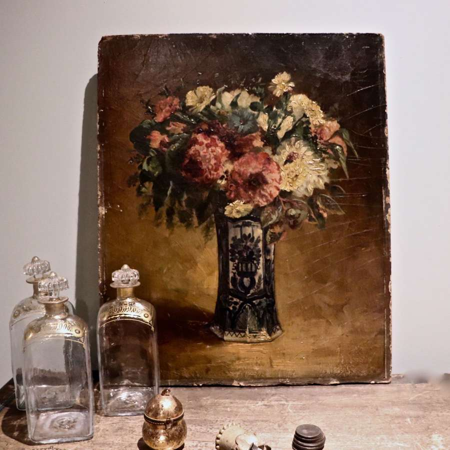 Early to mid 20th century oil painting of flowers in a vase