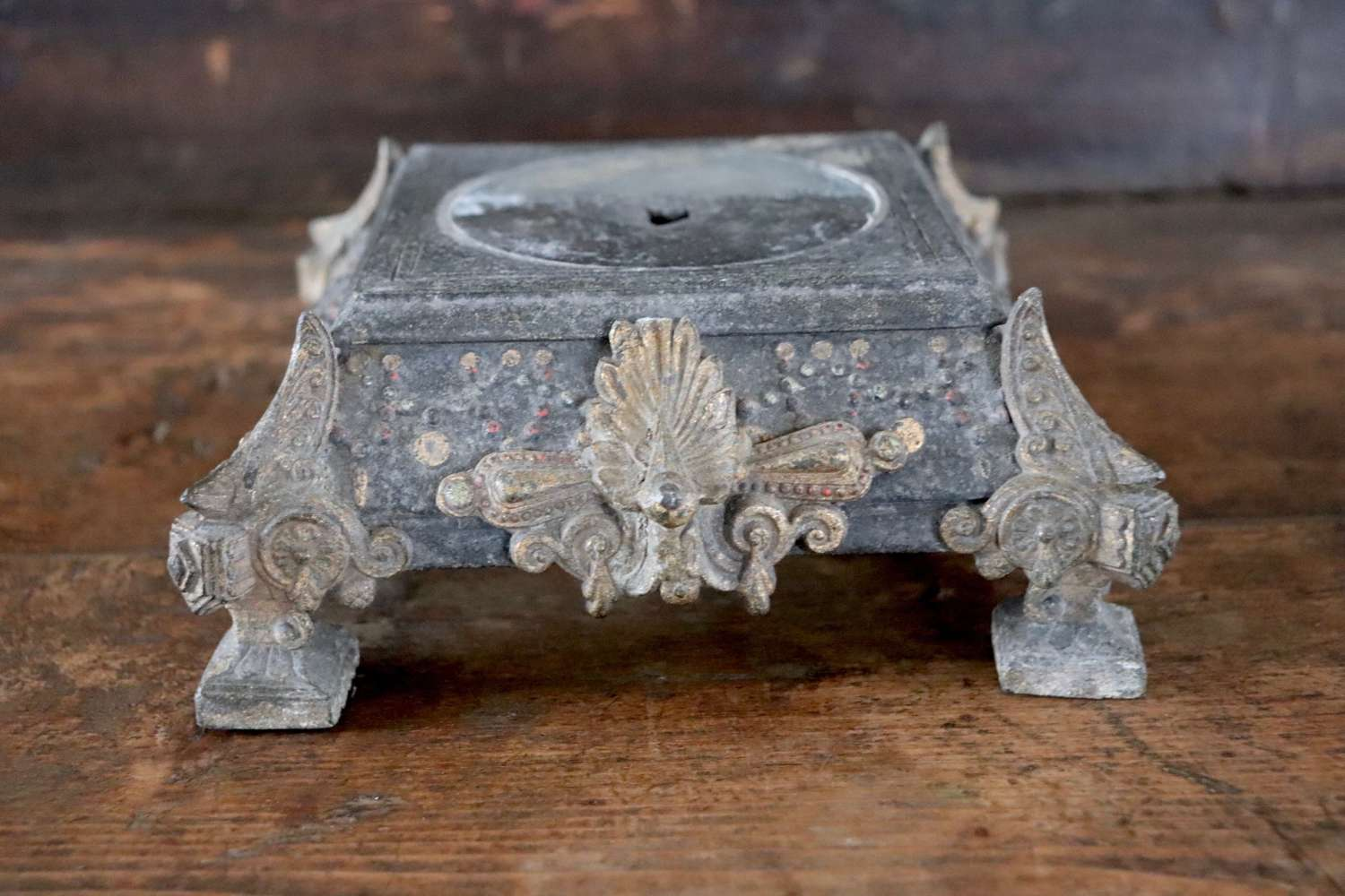 Metal stand - black with gilt decoration