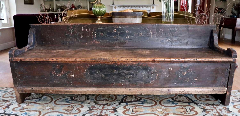 19th century folk marriage box/bench
