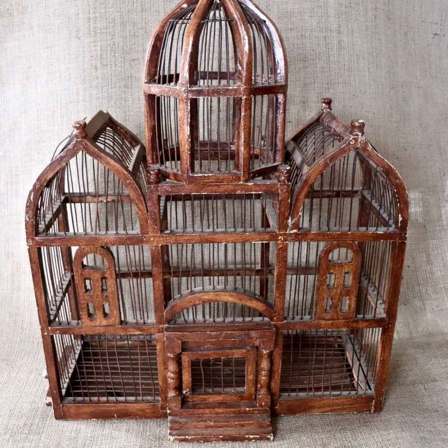 Large decorative wooden birdcage