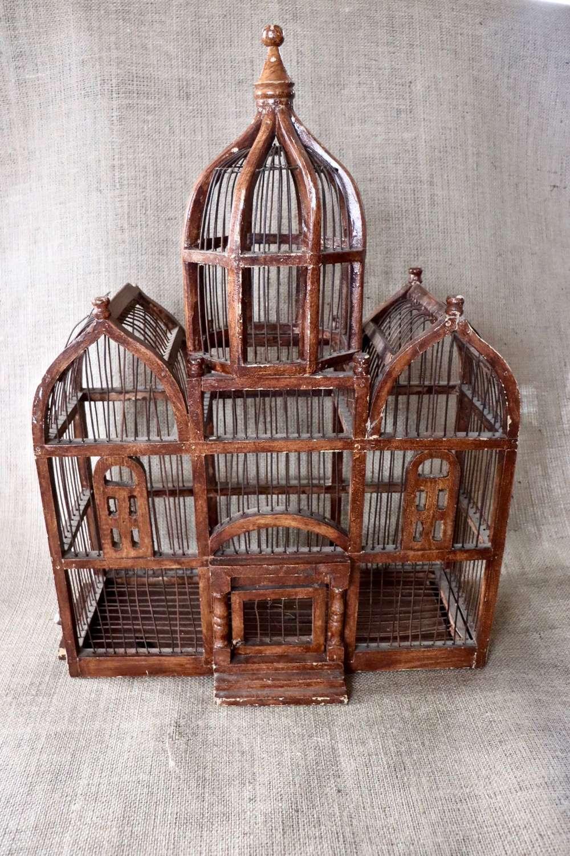 Large decorative wooden birdcage