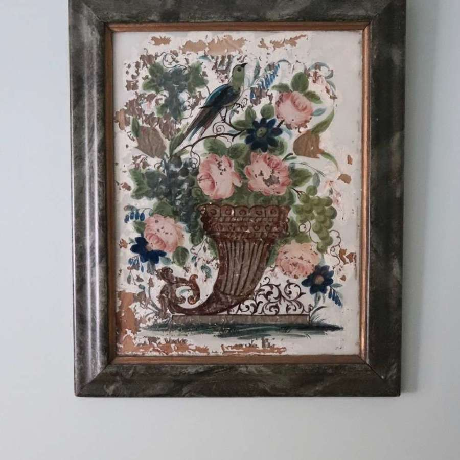 Pair of reverse glass painted pictures depicting birds and flowers