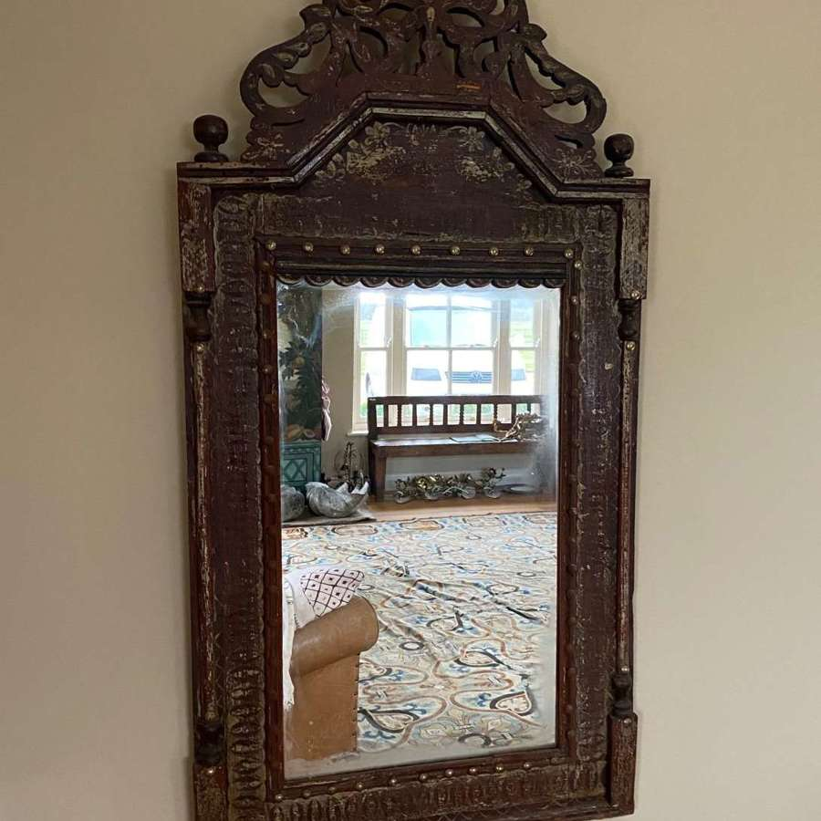 19th century pine framed mirror with original painted decoration