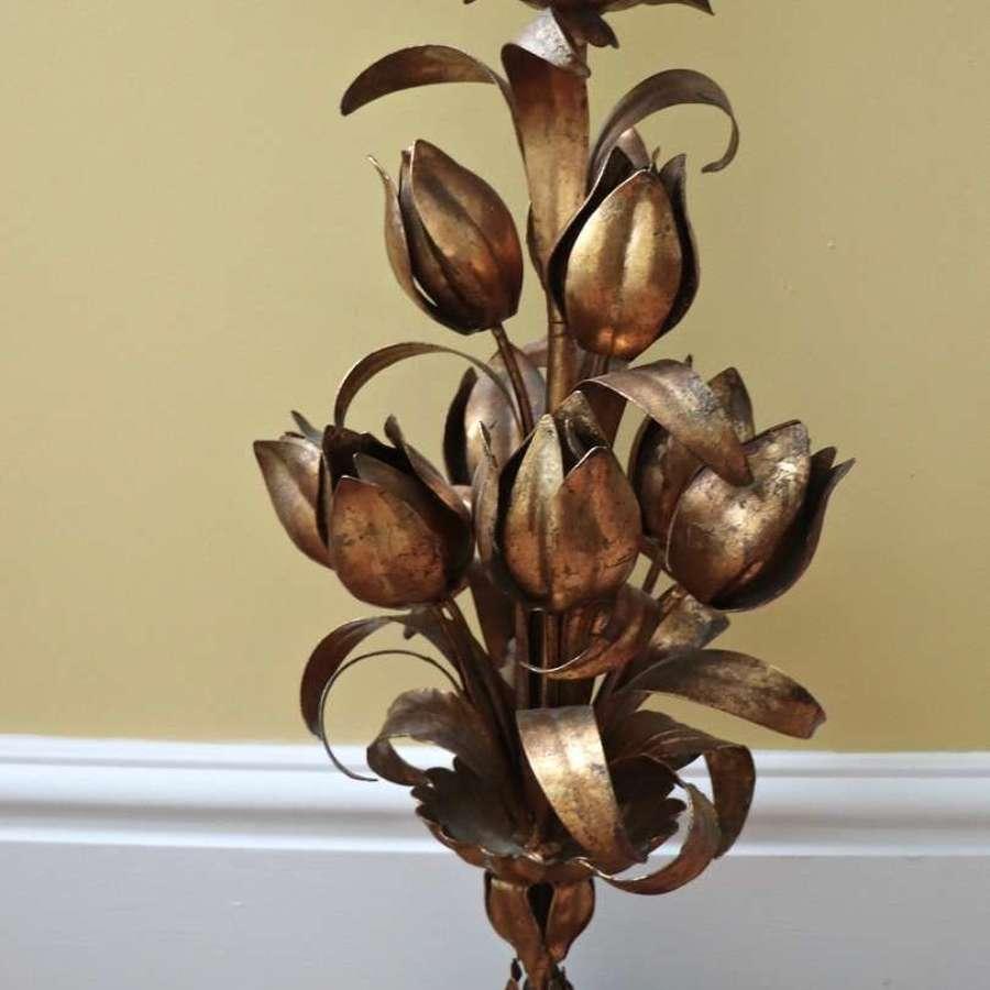 Mid century  gilt floral light