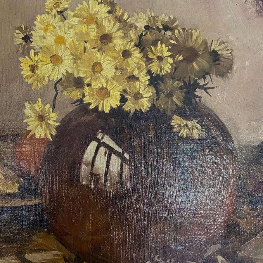 Still life oil of daisies in vase