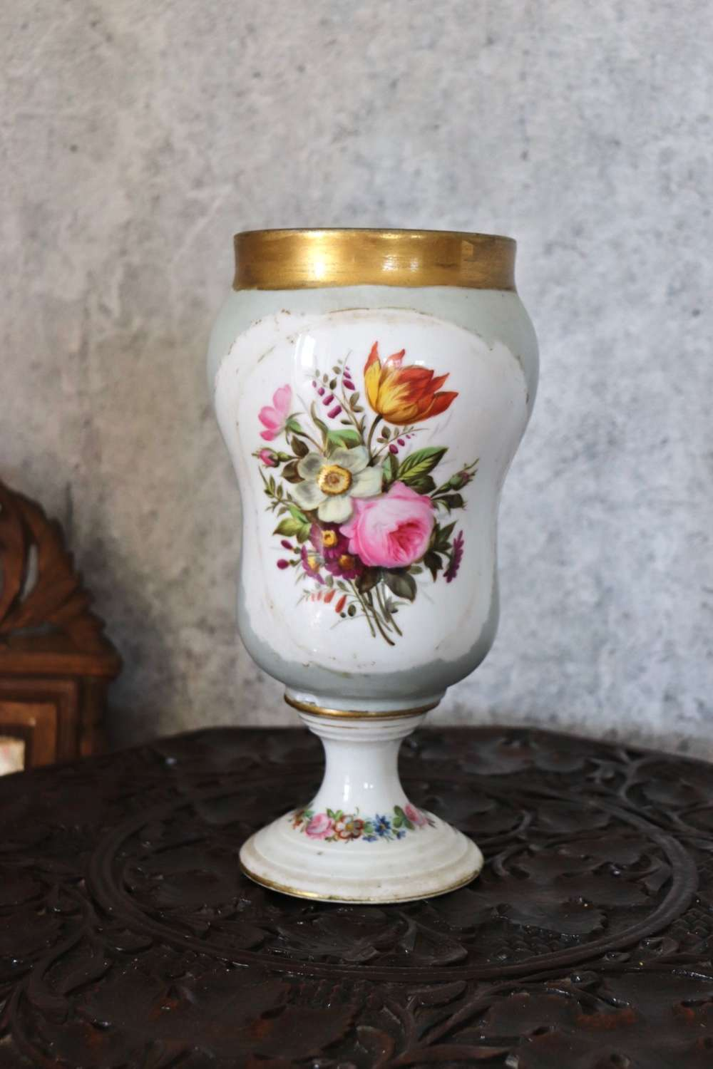 Early 20th century florally painted vase