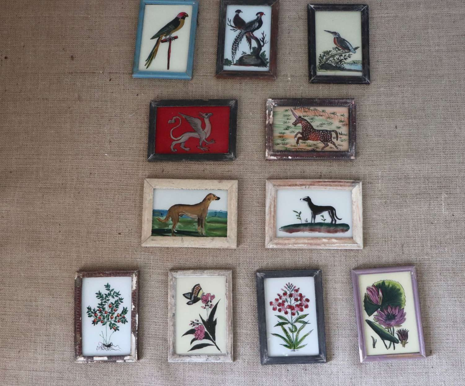 Indian reverse glass paintings in old frames