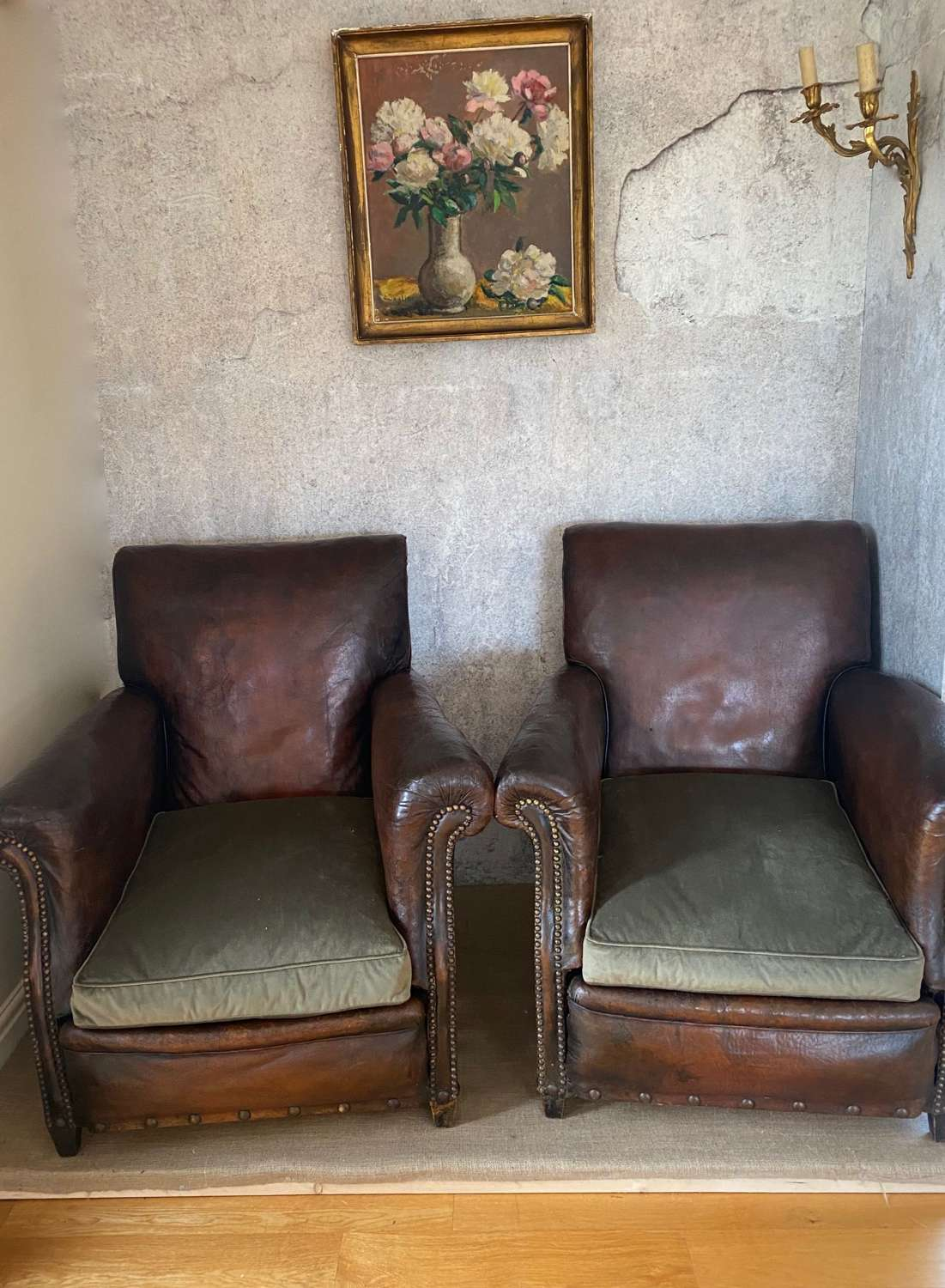 Pair of mid century leather club chairs