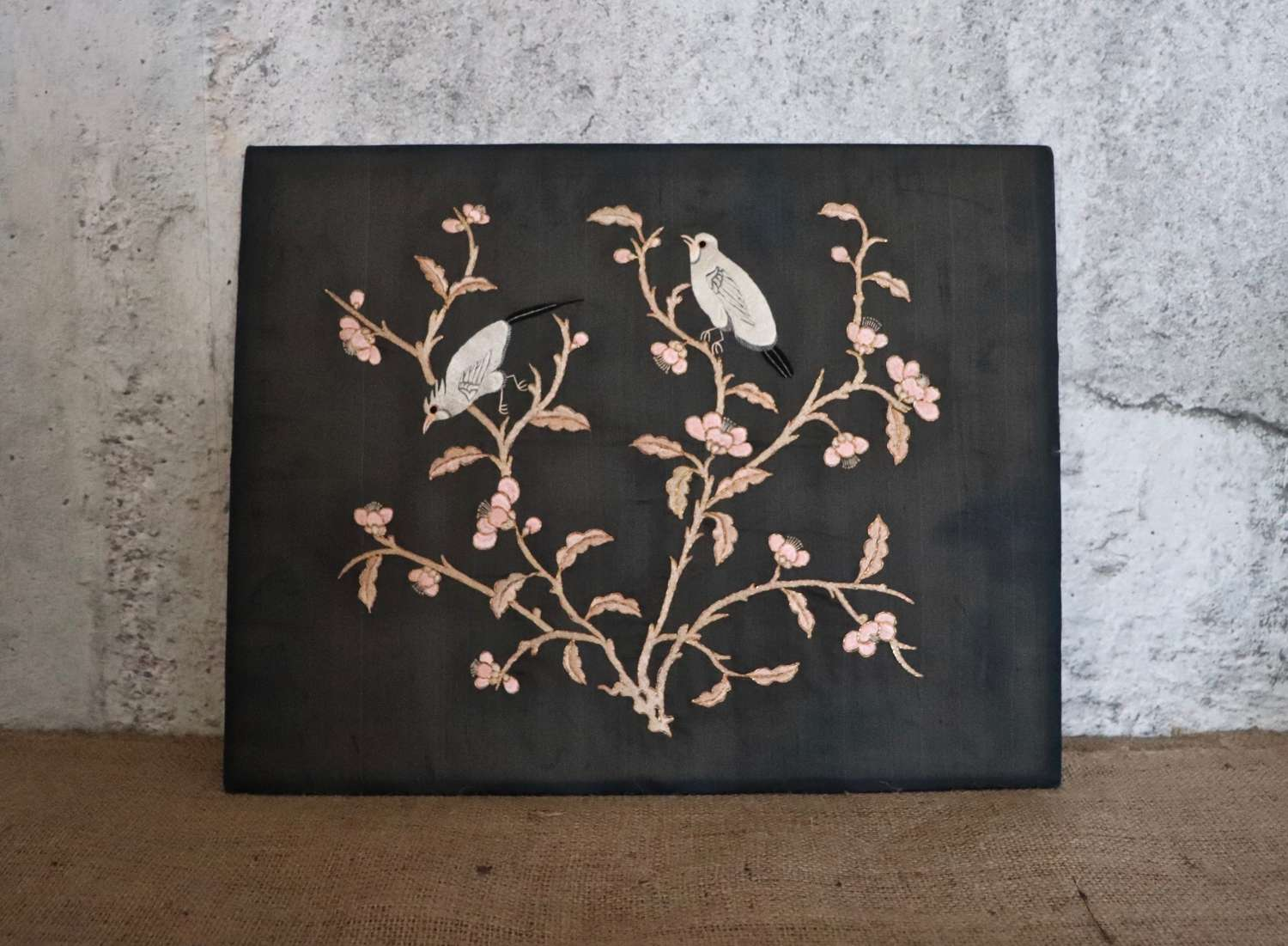 Early to mid 20th century silk panel of birds on board