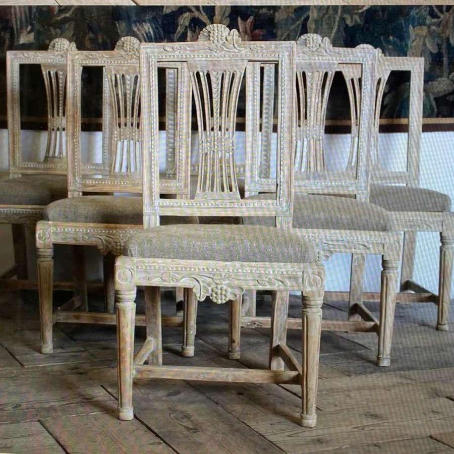 Set of six late 18th century Swedish Gustavian dining chairs