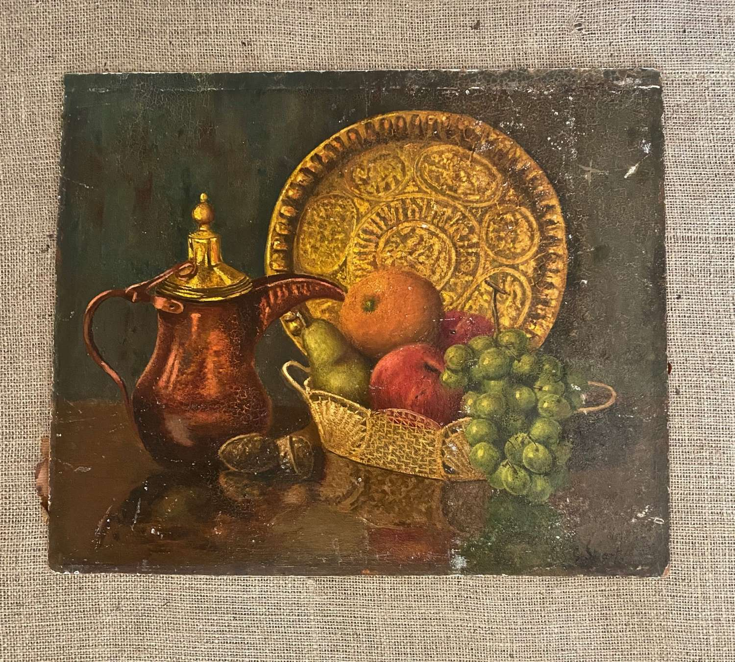 Mid century overvarnished oil painting