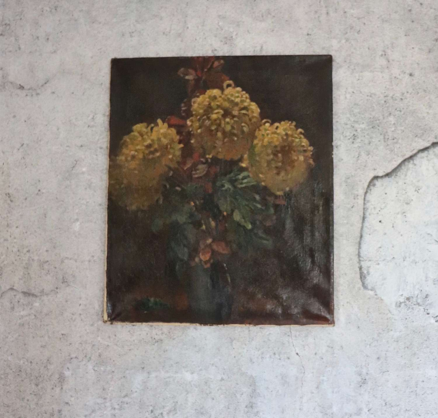 French 19th century oil painting of dahlias