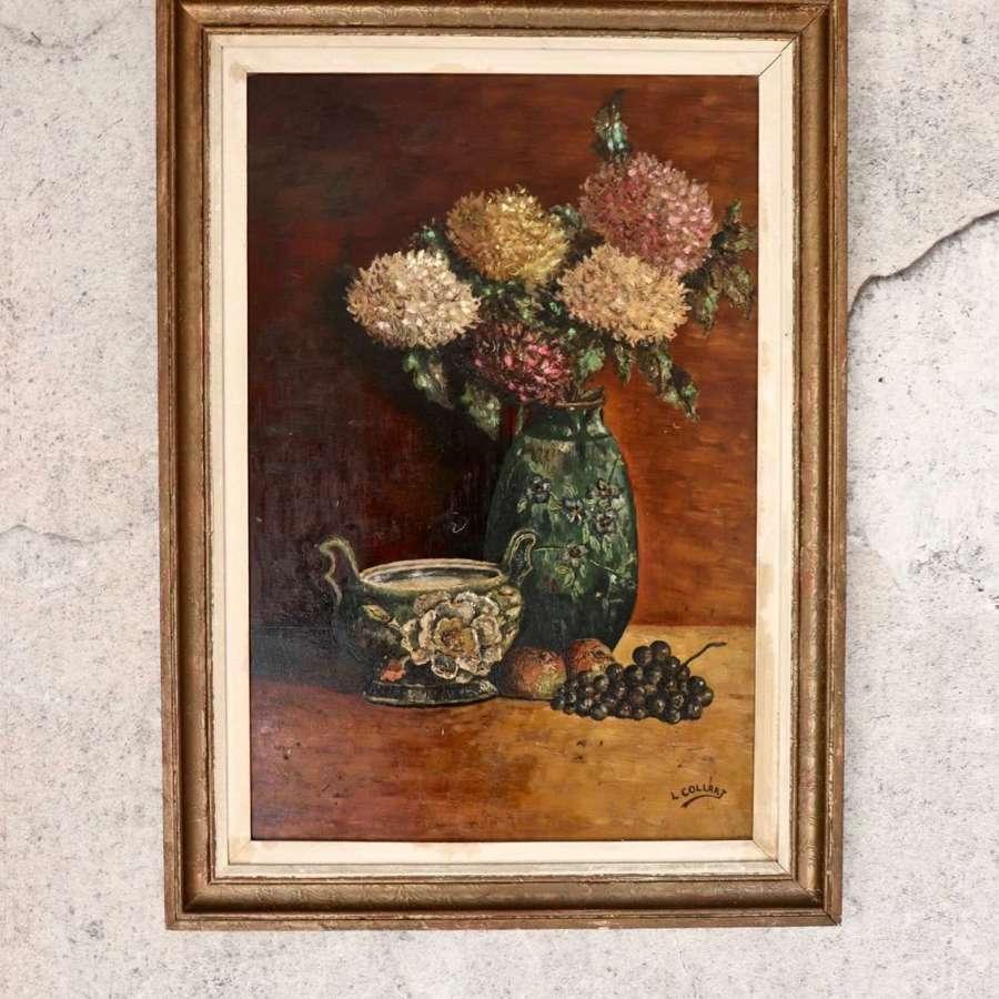 Mid century framed oil of dahlias