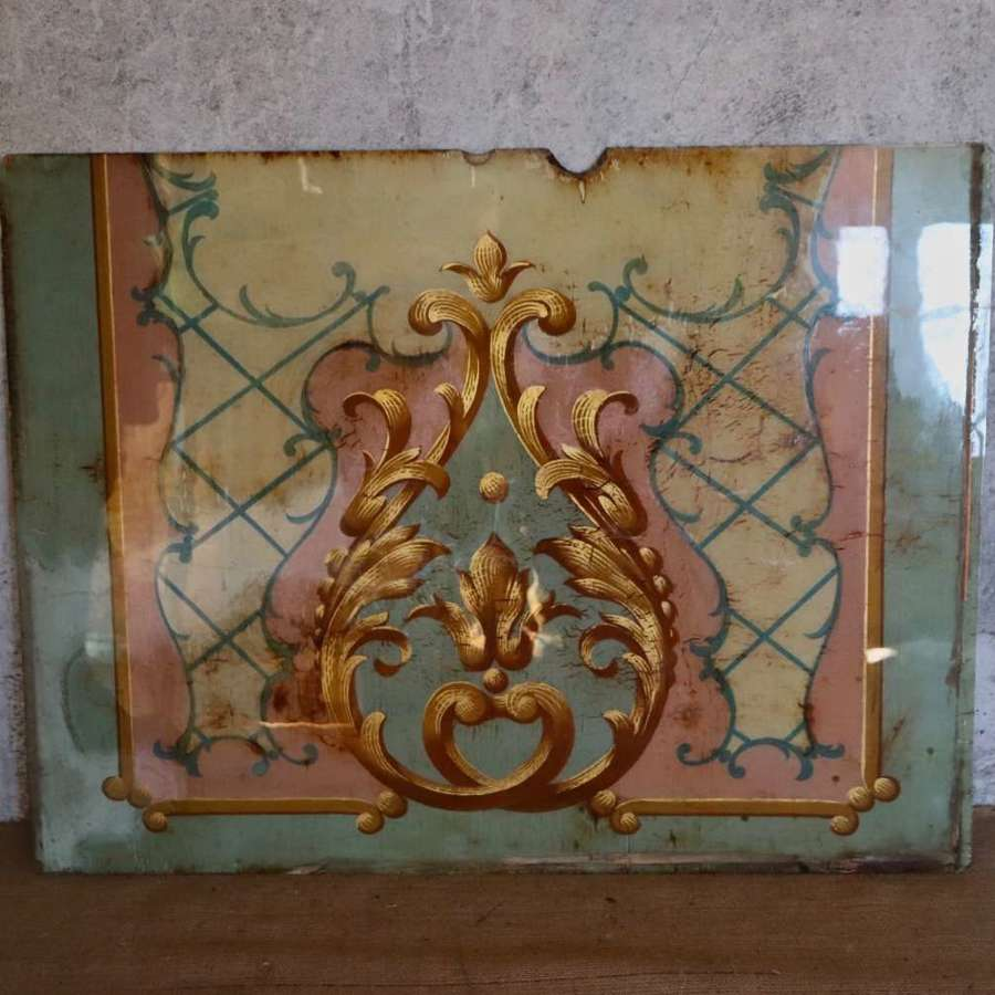 Early 20th century glazed panel over antique wallpaper