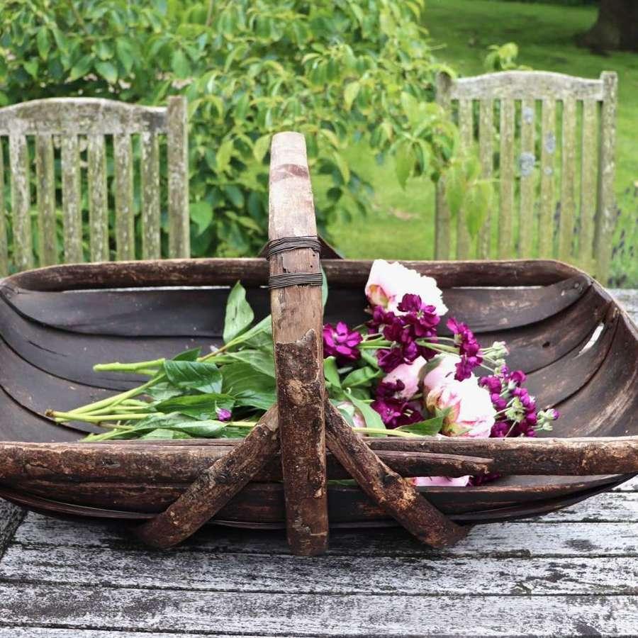 Large English vintage garden trug