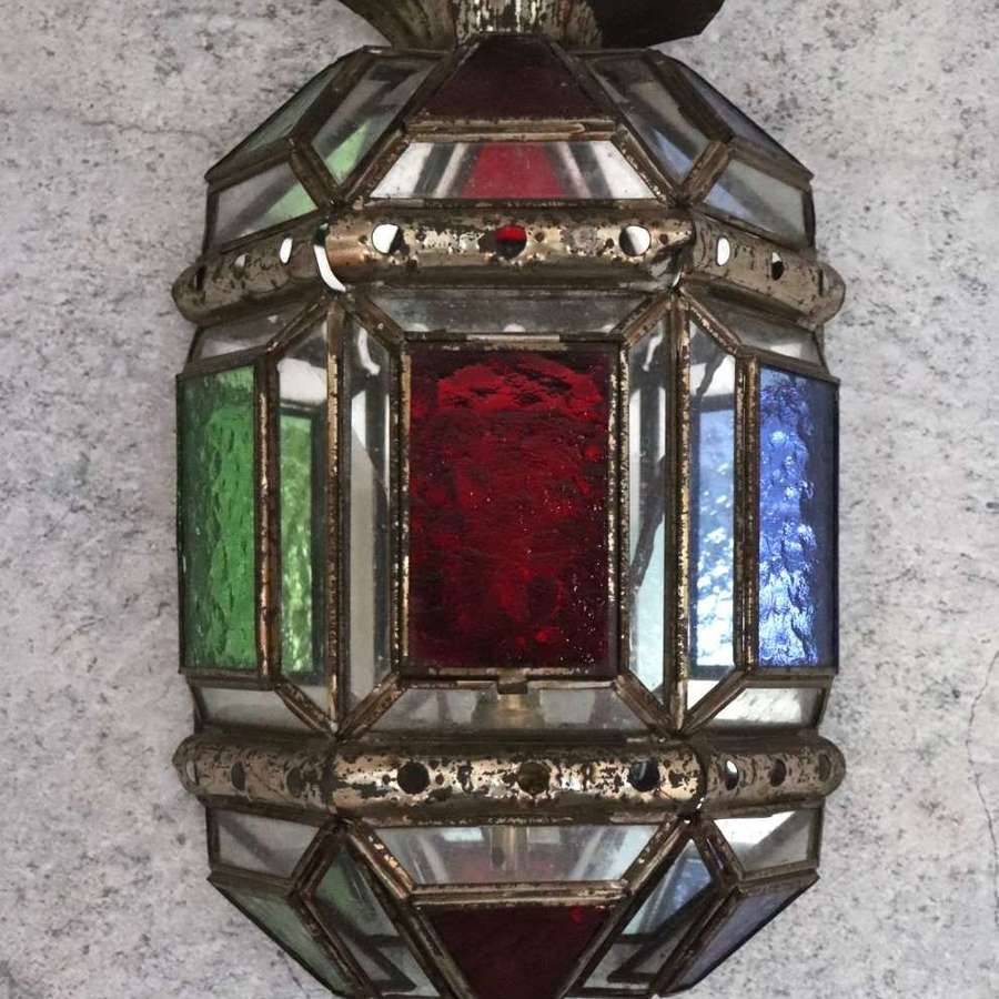 Wall lantern with coloured glass