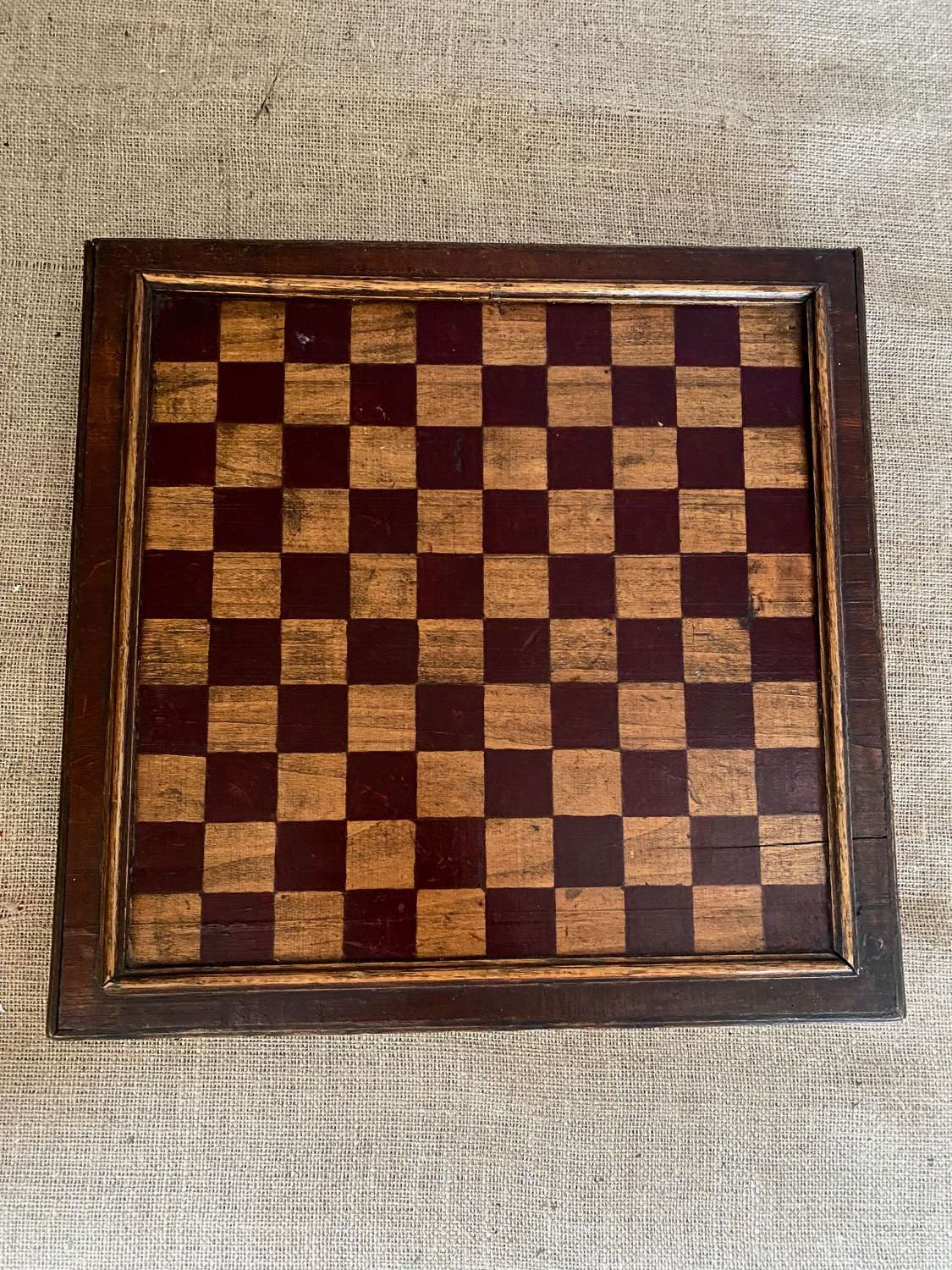 19th century draughts board with drawer underneath with draughts