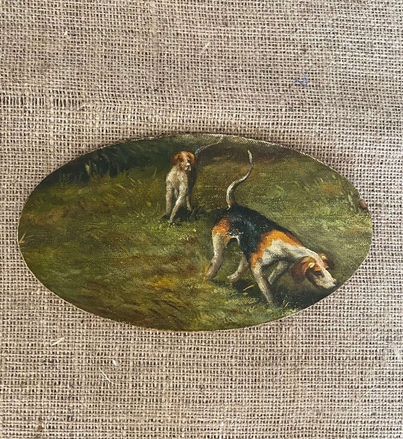 19th century oil of two foxhounds