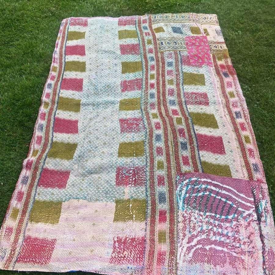 Mid century Indian patchwork quilt