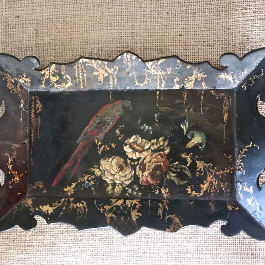 19th century scalloped tray depicting a parrot and flowers