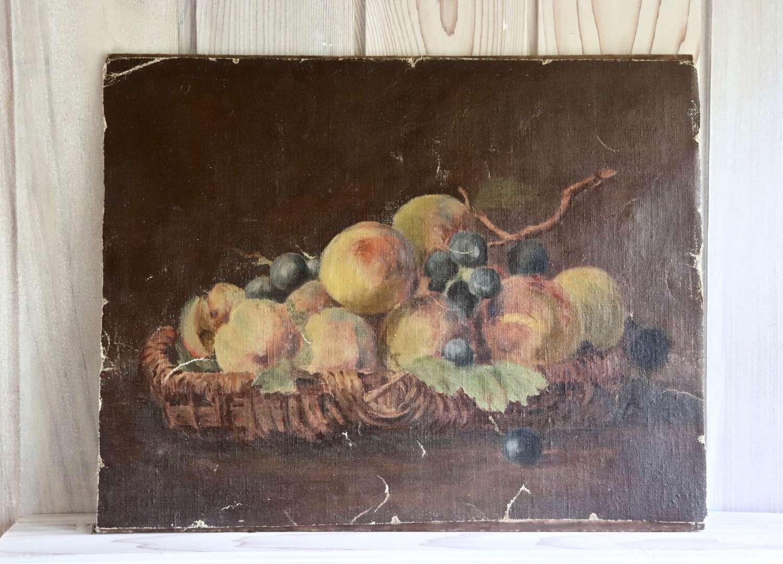 Oil on board of fruit in a basket