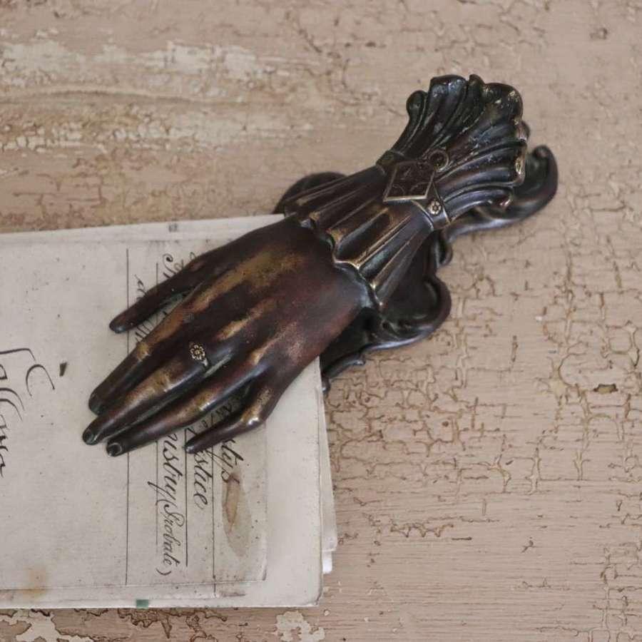 Antique bronze hand desk organiser