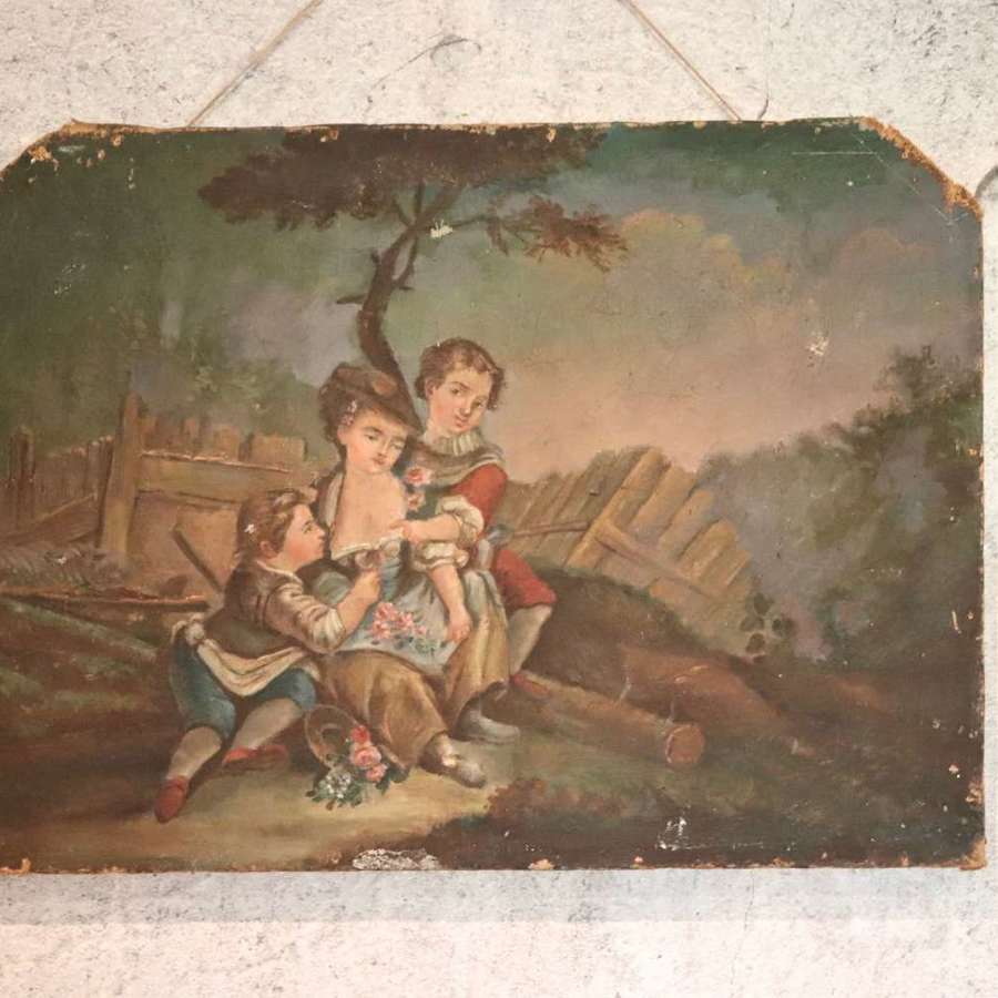 19th century French oil painting on canvas of children