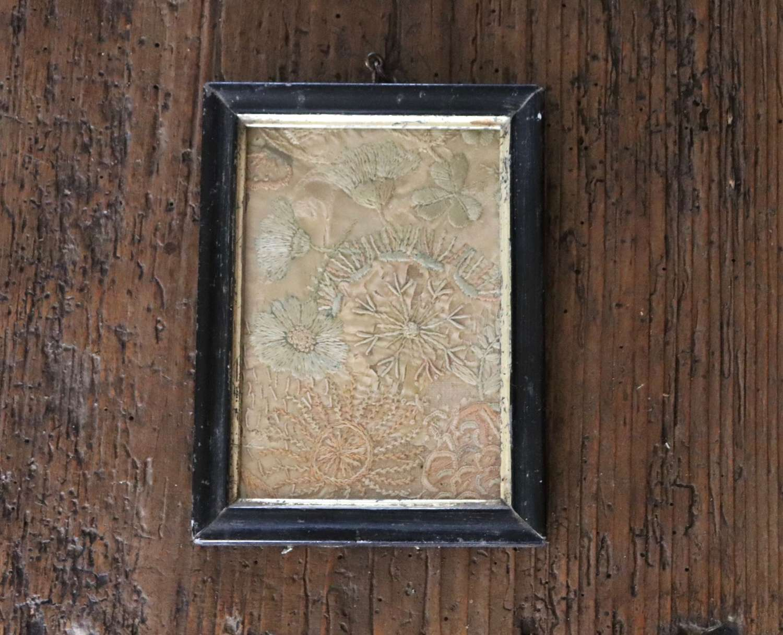 Georgian silkwork in antique frame