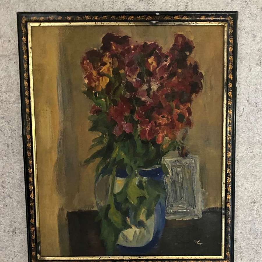Late 19th century floral still life in frame