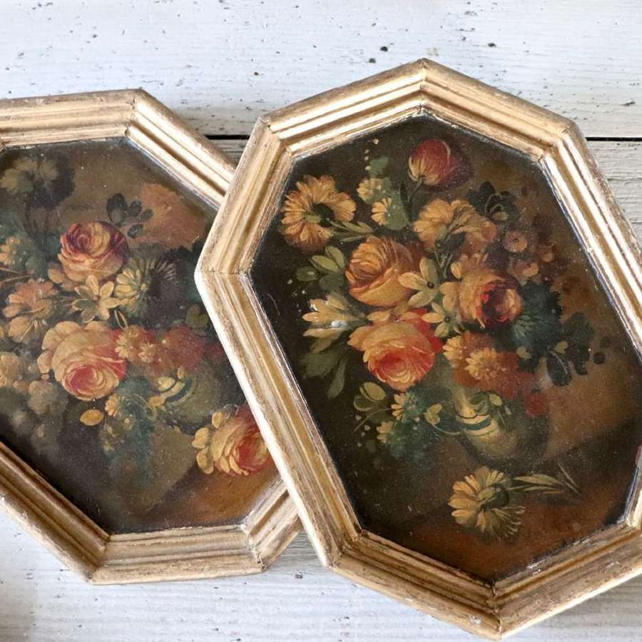 Pair of floral still lifes within gilt frames